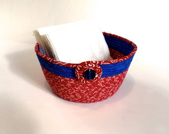 Patriotic Clothesline Basket - Red, White and Blue -  Handmade Coiled Rope Organizer - OOAK Fruit Bowl - Fiber Art by Sally Manke - July 4