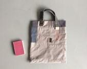 brown patchwork tote book bag - repurposed bag - canvas cotton bag - unique military style handbag - repurposed belt bag - army patchwork