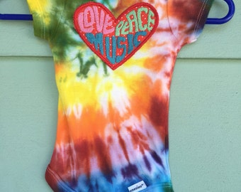 Love,Peace and Music ~ hand tie dyed, embroidered heart baby Onesie 0-3, 6-9 months, rainbow, hippie OOAK