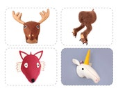 PDF Woodland Sewing Pattern, Plush Forest Felt Animal Head, Faux Taxidermy, Discount Bundle 4 for 3
