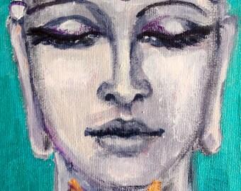 "Buddha with Lotus  painting meditation art zen original art 7 x 5"""