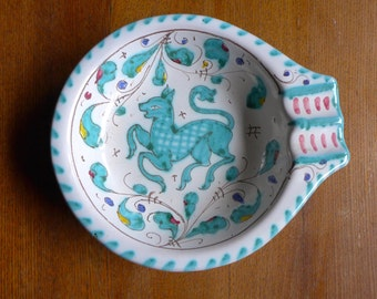 Vintage Italian Pottery Dish Painted with Blue Fawn Deer
