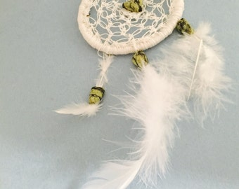 White Dream Catcher, Wedding Gift, Car Mirror Decor, Cotton, Green, Feathers, Item No. De050D
