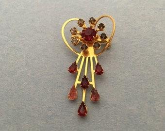 Vintage Heart brooch/pendant , rhinestones, gold tone, Item No. De225