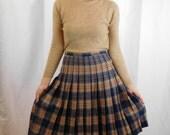 Vintage Pendleton Cailean Tartan Plaid Pleated Wool Midi Skirt
