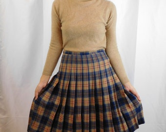 Vintage Pendleton Cailean Tartan Plaid Pleated Wool Midi Skirt