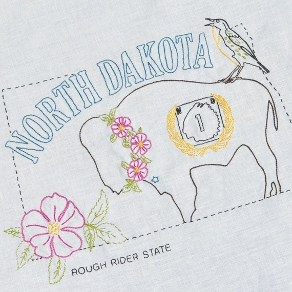 North dakota hand embroidery pattern iron on transfer