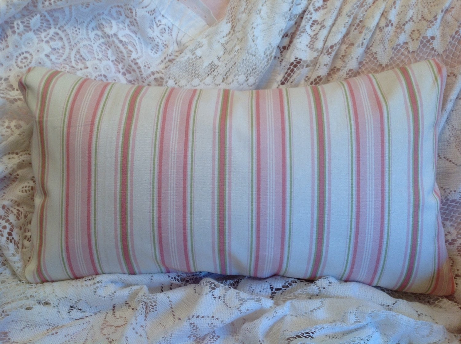 Shabby Chic Striped Pillow Cover lovely colors