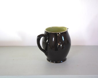 20% OFF Marked Price - Vintage Half Pint Milk Jug in Black with Lime Green Interior by Langley of England