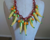 Vintage Tutti Fruiti Necklace, Carmen Miranda Necklace, Glass Banana Necklace, Glass Fruit Necklace, 50s Jewelry, Jewellry, Figural Jewelry