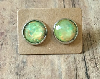 Gorgeous yellow fire opal studs