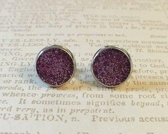 Gorgeous purple glitter resin studs