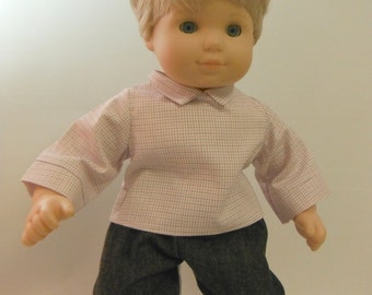 15 inch Doll Clothes, Fits American Girl Bitty Twin - Pink Plaid Shirt and Jeans, Bitty Boy