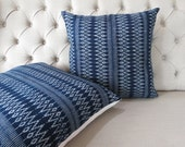 2 a pair. 20x20 Vintage style Indigo batik cushion covers, Handwoven Cotton Fabric-vintage Homespun Cotton