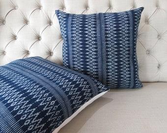 2 a pair. 22x22 Vintage style Indigo batik cushion covers, Handwoven Cotton Fabric-vintage Homespun Cotton