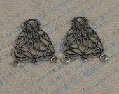Antiqued Sterling Silver Plated Brass Filigree 3 Ring Pendant 23x19mm (2 pcs) S-9041-S