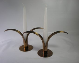 Scandinavian Gold Brass Lily Candle Holders or Candlesticks by Ivar Alenius Bjork for Ystad - Metall of Sweden