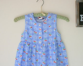 Vintage FRUIT Dress..size 6 kids..cotton. vintage kids. fruit. kids. children. colorful. 1980s. summer. picnic. kitsch. cherries. strawberry