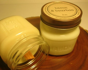 Bacon and Bourbon 8 oz. Soy Mason Jar Candle // Wood Wick // Kitchen/Drink/Man Scent