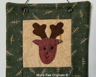 Mini Quilt ~ 6 Inch Moose Mini Quilt ~ Brown, Green, Tan