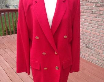 Vintage Pendleton blazer, red wool suit coat, warm office coat, holiday suit coat, double breasted blazer,