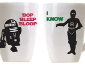 Star Wars inspired I love you I know Bop Bleep Bloop I know C3P0 R2D2 coffee mugs Leia Han Solo