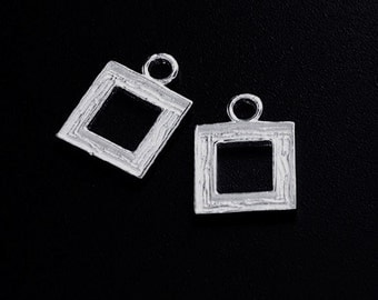 2 of 925 Sterling Silver Textured Square Charms 9mm. :tm0132