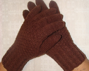 Men gloves- hand knitted from natural wool, warm, brown