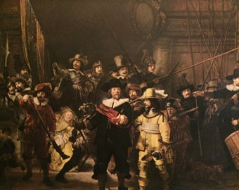 The Night Watch By Rembrandt van Rijn 1642 Color Book Print, 1951