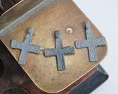 Set of 3 Antique metal Old cross Christian Cross pendant. Orthodox church