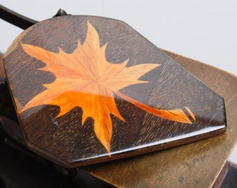 Vintage large, huge, lacquered wood  brooch, maple leaf, wood texture