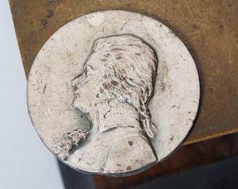 Antique metal plate, embellishment, connector, part, primitive finding man face