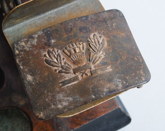 Antique metal buckle, Russian student, school uniform