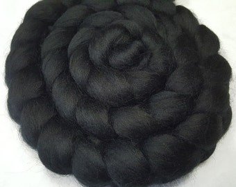 "Corriedale Combed Top/Roving - 4 oz - Black - 27.5 Micron and 3.5"" Staple Length"