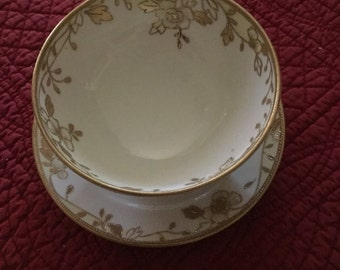 Hand Painted Nippon Footed Bowl and Saucer