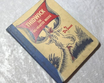 Thidwick the Big Hearted Moose by Dr. Seuss, Vintage Scarce 1948 Illustrated Childrens Board Book, FREE SHIPPING