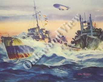 Destroyer Escort Print by Arthur Beaumont, World War II Navy Print, Dirigible Airship Blimp, Vintage 10x13 Ship Art c1940s, FREE SHIPPING