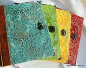 Faux dragon leather sketchbook, notebook, art journal, recycled book, teal, green, yellow, red, gift for artist, drawing tools, handstitched