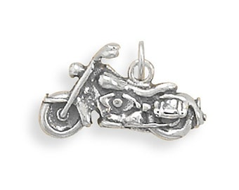 Motorcycle Charm Pendant 3d Sterling Silver 925