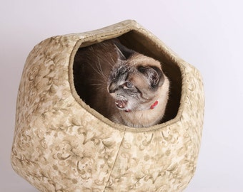 The Cat Ball Cat Bed in Neutral Earth Colors and Damask Print Cotton Fabric Geometric Modern Cat Furniture
