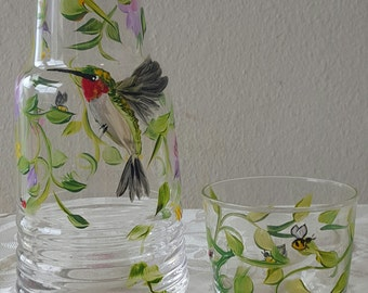Bedside carafe, hand painted hummingbird and fuchsia, gift for mom, valentines day gift