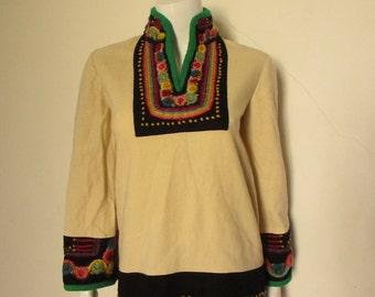 60's Vintage Haight Street Rainbow Hippie Embroidered Mini Dress tunic
