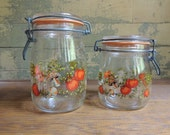 Vintage Spice of Life Canisters / 2 Spice of Life Jars / Vintage Glass Canisters / Storage Jars / Kitchen Decor / Vintage Canisters