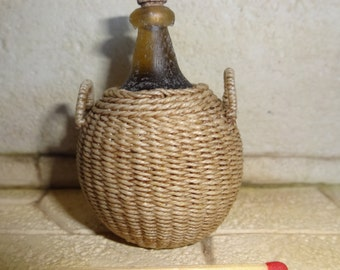 "1:12th scale dollhouse miniature ""wickered"" bottle"