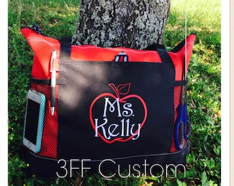 Personalized Monogrammed Teacher School Tote Lots of Colors to Choose from