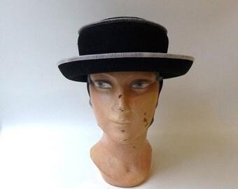 ON SALE Vintage 1990s Australian designer black wool felt with white stitching hat, Gregory Ladner hat
