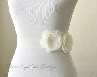 Ivory Bridal Sash, Ivory Chiffon and Organza Bridal Sash, Ivory Bridal Belt, Ivory Wedding Belt, Ivory Organza Bridal Belt