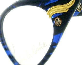 Vintage Cat Eye Glasses Eyeglasses Sunglasses New Frame Eyewear Blue And Black