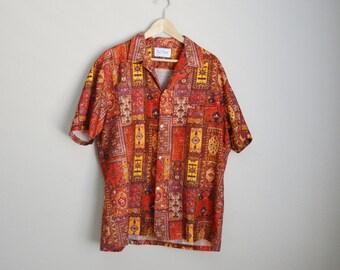 Vintage 70s Hawaiian Rai Nani Asian Ethnic Tiki Luau Shirt // mens xlarge