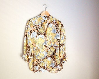 vintage 90s seashells leopard cheetah print silk oversized blouse shirt -- womens large